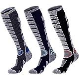 Knee High Hiking Sock, Skiing Socks, Spove 3 Pack Warm Ski Sock for Men Women Cushion Compression Socks Snowboard Sock for Climbing, Running, Camping, Trekking Nurse Outdoor Sport