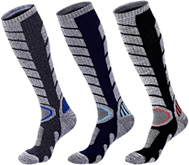 6 Pairs Mens Ski Socks Winter Warm Socks Thick Cotton Sock Breathable Warm Soft One Size Outdoor Mountaineering Ski Hiking Socks For Swollen Feet And Legs Socks