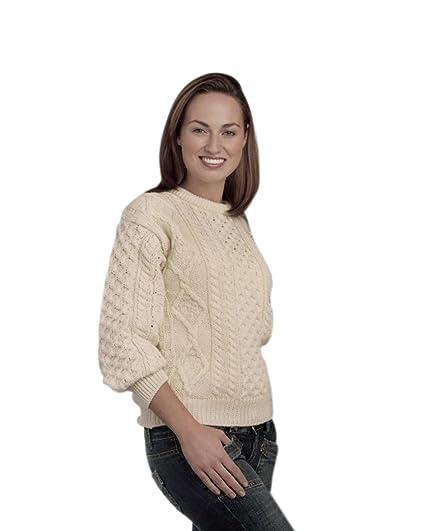 409dfa594 100% Pure New Wool Irish Springweight Aran Sweater
