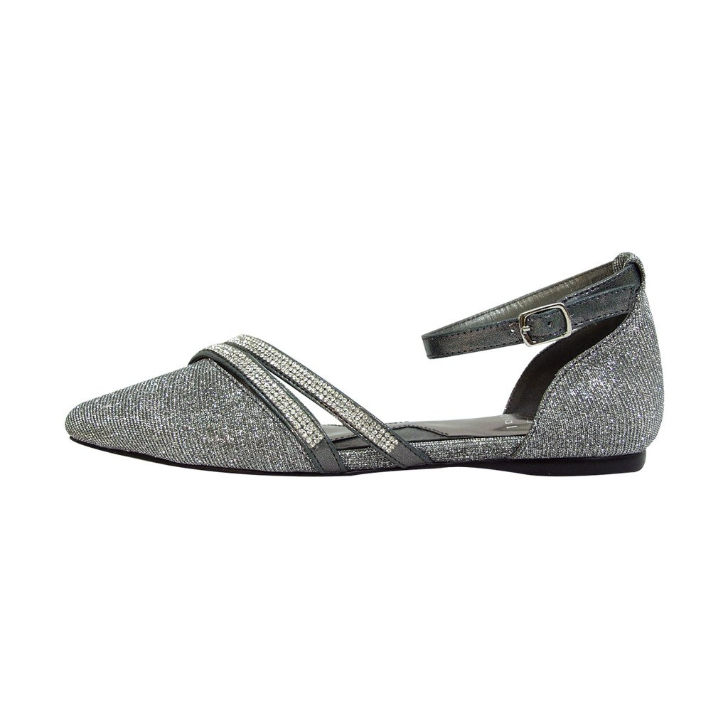 Fuzzy FIC Hallie Women Wide Width Pointed Toe Ankle Strap Dress Flats (Size/Measurement Guide Available) B01M0ZN9PU 12 E|Pewter
