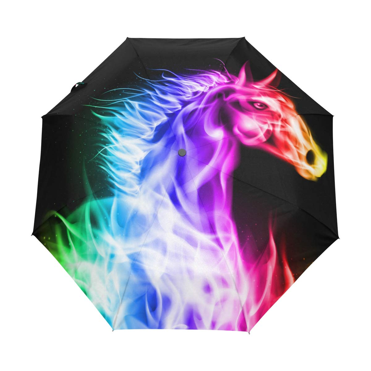 048dbdb2709c Amazon.com : CiCily Compact Travel Umbrella Colorful Horse Sun ...