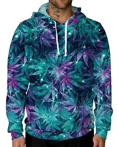 iHeartRaves Ganja Galaxy Long Sleeve All Over Print Hoodie Sweatshirt (Medium)
