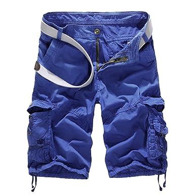 beda3ad221742 Vertvie Homme Militaire Cargo Short de Loisir Travail Casual Bermuda  Pantalon Court Multi Poches Vintage (