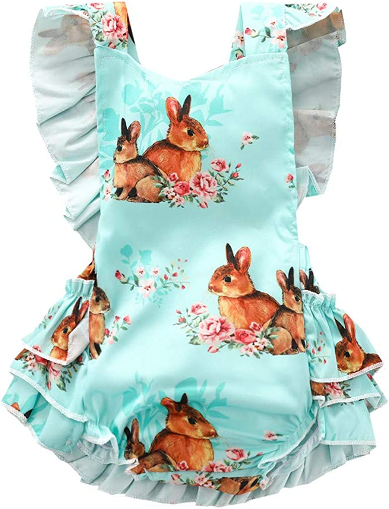 Hapae Baby Girls Rompers Cute Jumpsuit Floral Printed One Piece Summer Kids Clothing Ruffles Holiday Vacation Outfit Sleeveless Little Kids Shorts