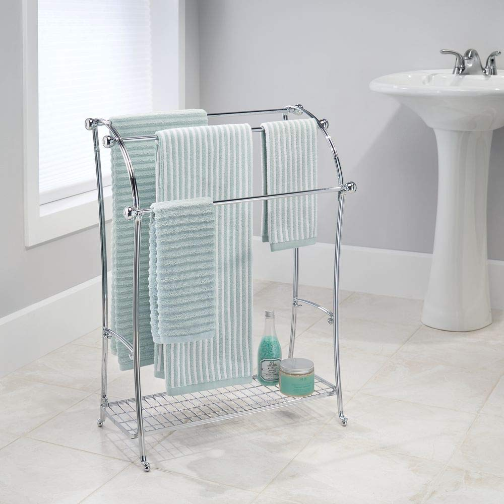 MetroDecor mDesign Colgador de Toallas - Toalleros de pie con 3 Barras - Cuelga Toallas de Metal con Bandeja para Accesorios de baño - Plateado: Amazon.es: ...