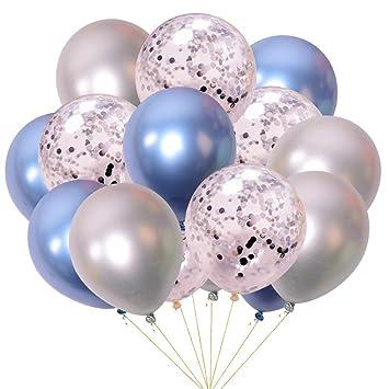 Azul y Plata Juland 50 PCS Globos metalicos de Fiesta Perla de Metal Brillante Latex 12 /'de Espesor Aleaci/ón de Cromo nacarado inflables de Aire para cumplea/ños Despedida de Soltera
