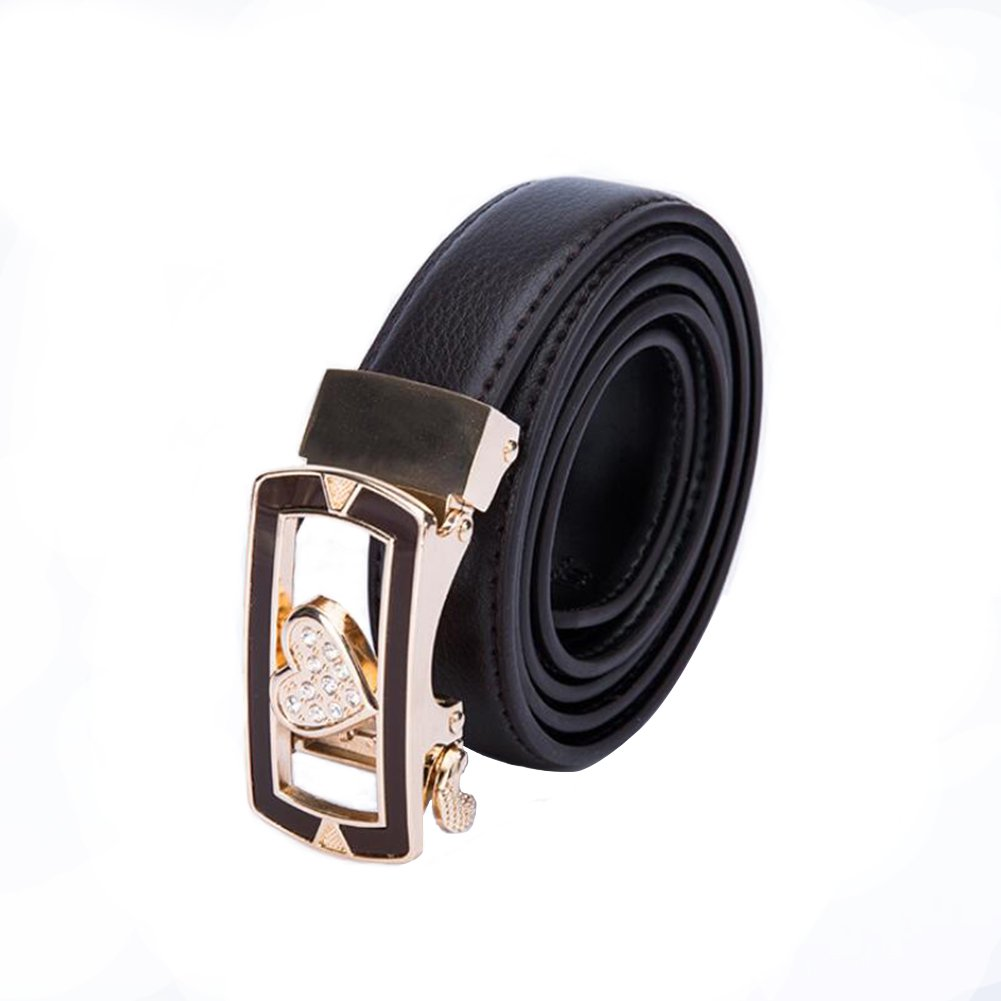 Girls Heart Shape Soft Wide Leather Belt for Jeans Shorts Leather Belt with Metal Buckle for Women Ladies Women/'s Belt