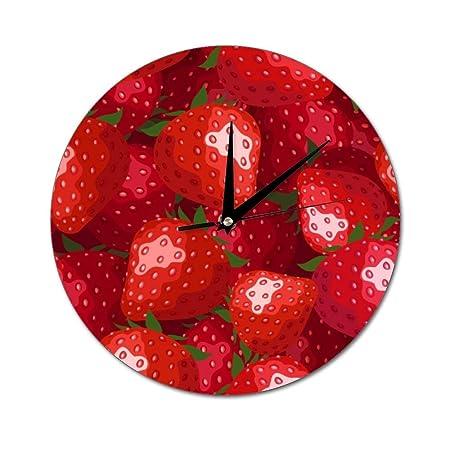 Mesllings Reloj de Pared de Cristal Redondo con diseño de Fresas ...