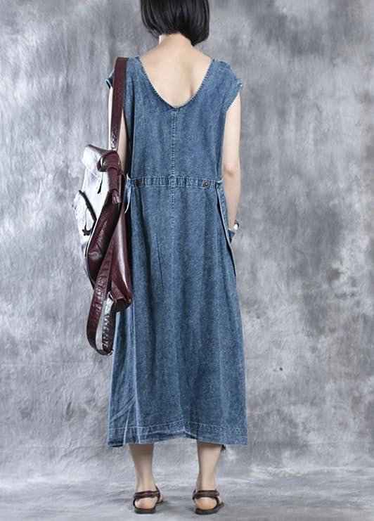 MatchLife Femmes Robe Denin Longue Tunique Jean Maxi Bleu