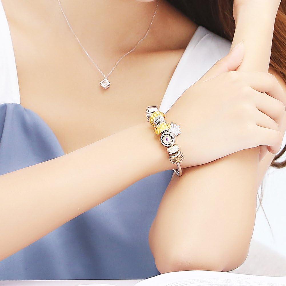 TinySand 925 Pur Argent Charm de Perle Compatible pour Bracelets Europeens avec Zircons Sertis