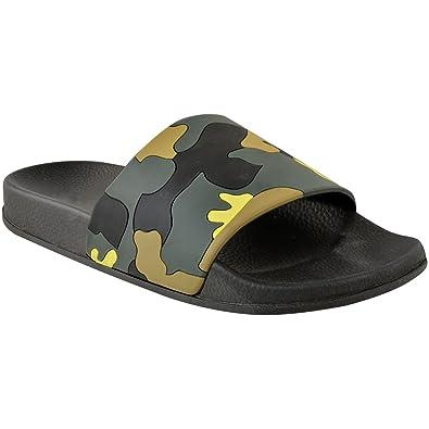 ad0fc2b0fa4ca2 Fashion Thirsty Womens Ladies Camo Green Slides Summer Pool Sliders Sandals  Flip Flop Size