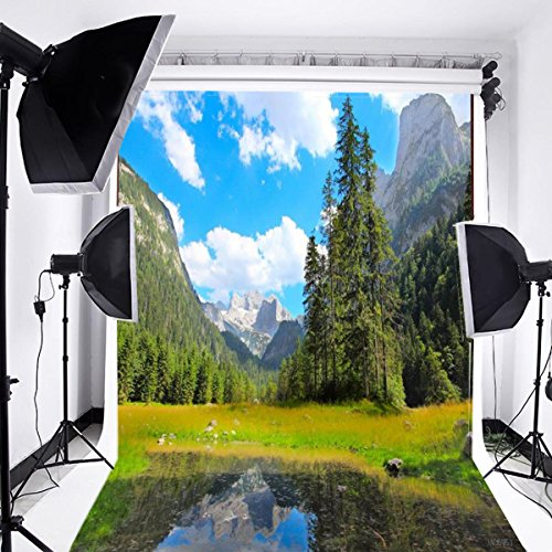 (Laeacco 5x7ft Thin Vinyl Children Kid and Baby Photography Backdrop Wedding Vivid Nature View Grassland Lake and Mountain Blue Sky Clouds Scenery Background Studio Props 1.5(w) x2.2(h))