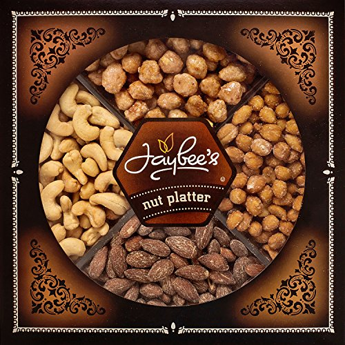 Jaybee's Nuts Gift Tray – Great Holiday, Corporate, Birthday Gift, or as Everyday Healthy Snack – Cashews, Smoked Almonds, Toffee & Honey Roasted Peanuts, Vegetarian Friendly and Kosher