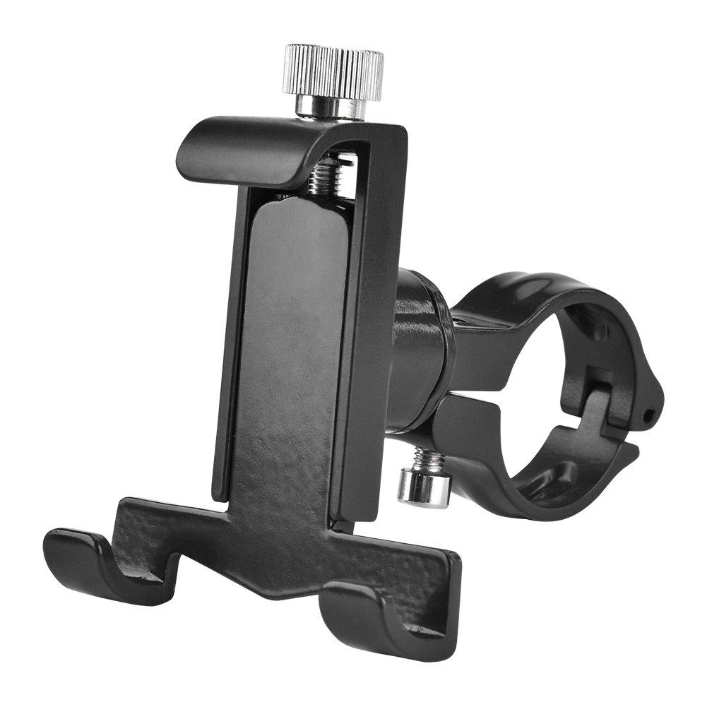 T-best Universal Handlebar Phone Holder, Aluminium Alloy Bike Motorbike Handlebar Cell Phone Navigator Mount Adjustable Bracket for iOS Android Smartphone - 360 Degrees Rotatable(Black)