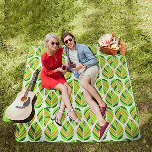 "WolfWise 79""x79"" XXL Picnic Blanket Extra Large Fleece Beach Mat with Waterproof Backing Anti Sand, Green Leaves"