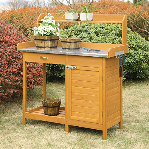 Cheap  Convenience Concepts Deluxe Potting Bench With Cabinet