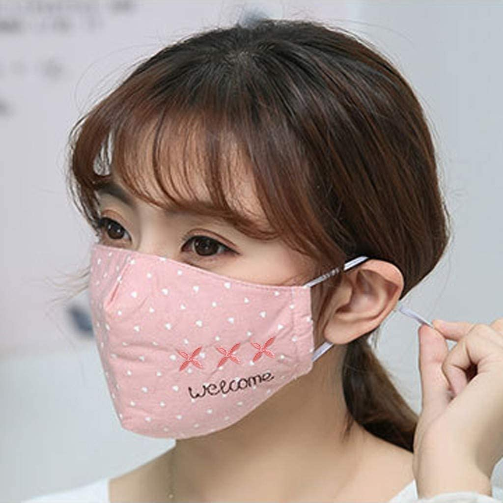 Unisex Cotton Cloth Soft Wave Point Face Cover Lovely Face Cover Anti Pollution Anti Dust Guard Cover Can be Washed and Reused
