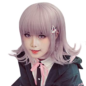 Danganronpa Nanami Chiaki Beige Colour Style Wig Cosplay Party Wigs Free Cap