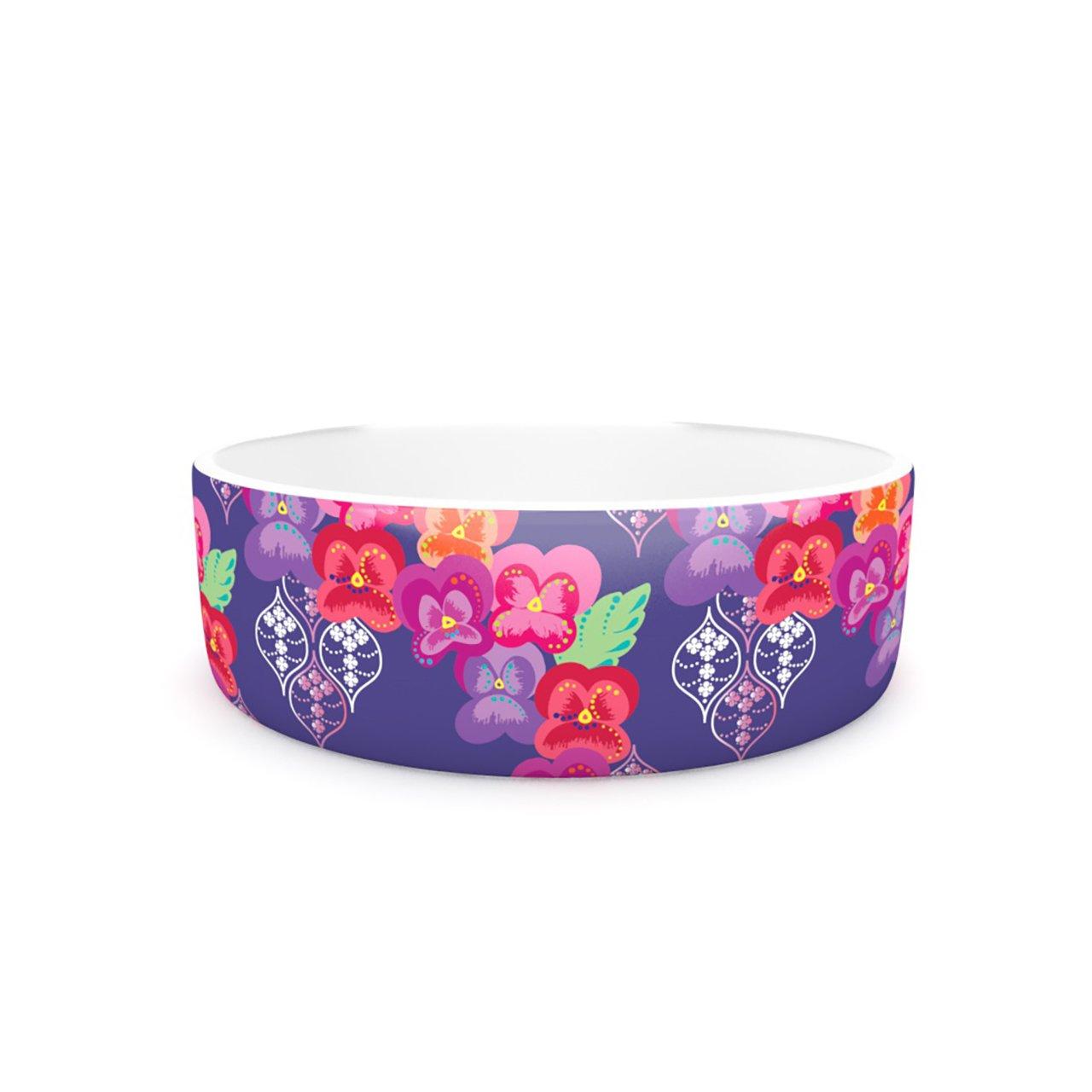 Kess InHouse Anneline Sophia Beautifully Boho  Pet Bowl, 7-Inch, Purple