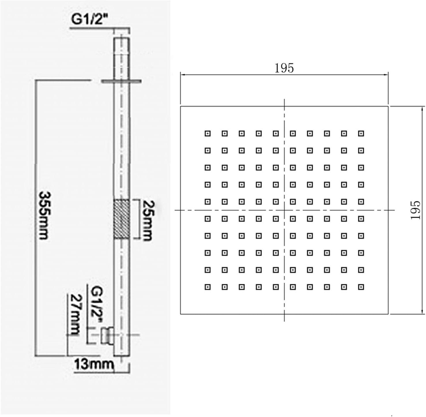 ENKI douche thermostatique /à encastrer Set Handheld fixe Head Jet Masseurs Carr/é