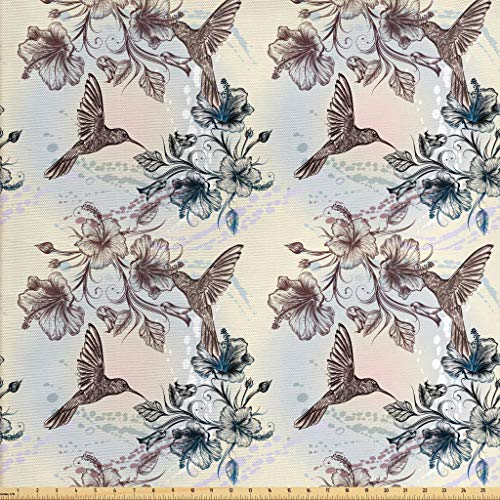 Ambesonne Hummingbird Fabric by The Yard, Birds and Hibiscus Flowers Nostalgia Antique Artistic Design Classical Print, Decorative Fabric for Upholstery and Home Accents, 2 Yards, Teal Brown