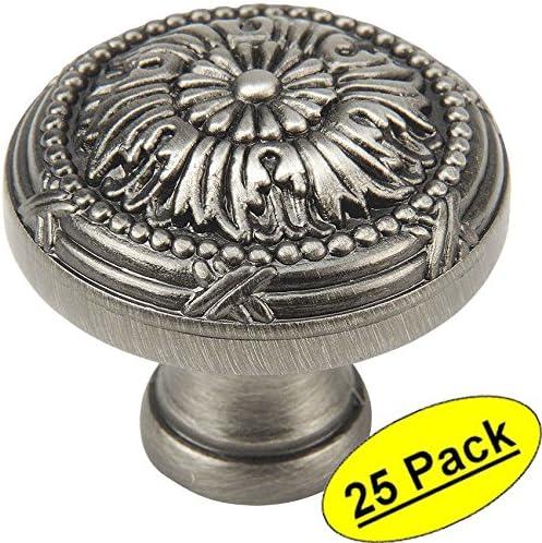 Cosmas 9460AS Antique Silver Cabinet Hardware Round Knob 25 Pack 1-1//4 Diameter