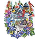 Bits and Pieces - 750 Piece Shaped Puzzle - Victorian Birdhouse, Birds and Flowers - by Artist Mary Lou Troutman - 750 pc Jigsaw