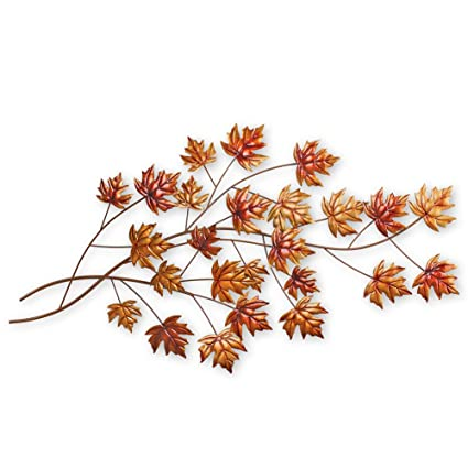 Amazon.com: Collections Etc Maple Branch Metal Wall Art Leaves, Fall ...