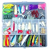 SODIAL(R) 100 Fishing Lures Spinners Plugs Spoons Soft Bait Pike Trout Salmon+Box Set