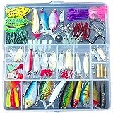 Leurres de peche - SODIAL(R)100 Peche Appats Leurres Spinners Plugs Cuiller mous Salmon Trout Pike + Box Set