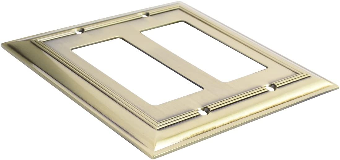 2 Pack Basics AB-6005 Double Gang Wall Plate 2 Antique Brass
