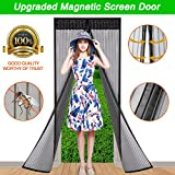 WELOVE Mesh Hands-Free Screen Door Net Magnetic Anti Mosquito Bug Automatic Closing Door Curtain Home Decor 82'' X 35'' (Black)