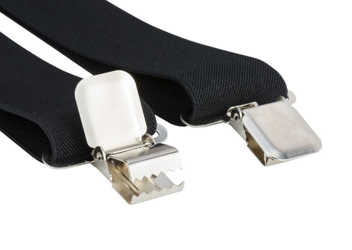 Mens X-Back Heavy Duty Work Suspenders 2'' Wide Adjustable Elastic Clip Suspenders 2pc(Black/Striped) by GradeCode (Image #4)