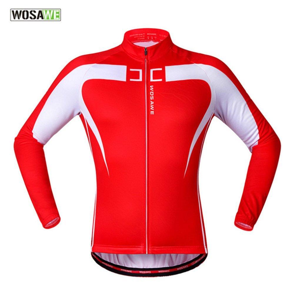 Wolfbike 自転車 サイクルジャケット ウインドブレーカー 軽量 撥水 サイクルウエア 防風 通気 バックポケット 反射材 アウトドア メンズ レディース 全5色 B018228OEQ S Red White1 Red White1 S