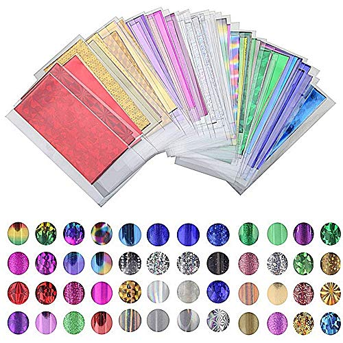 New Product 48 Sheet Mix Color Transfer Foil Nail Art Star Design Sticker Decal for Polish Care DIY Universe Nail Art -