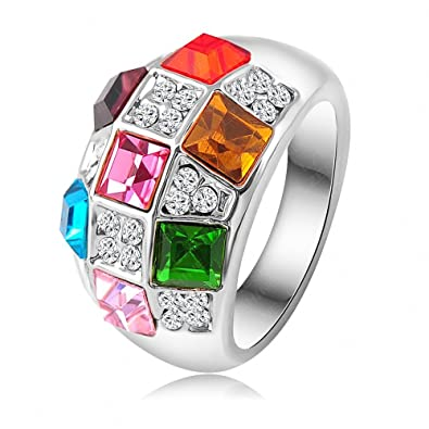 Crystal Enement Rings | Amazon Com K Design Fashion Platinum Plating Colorful Austrian