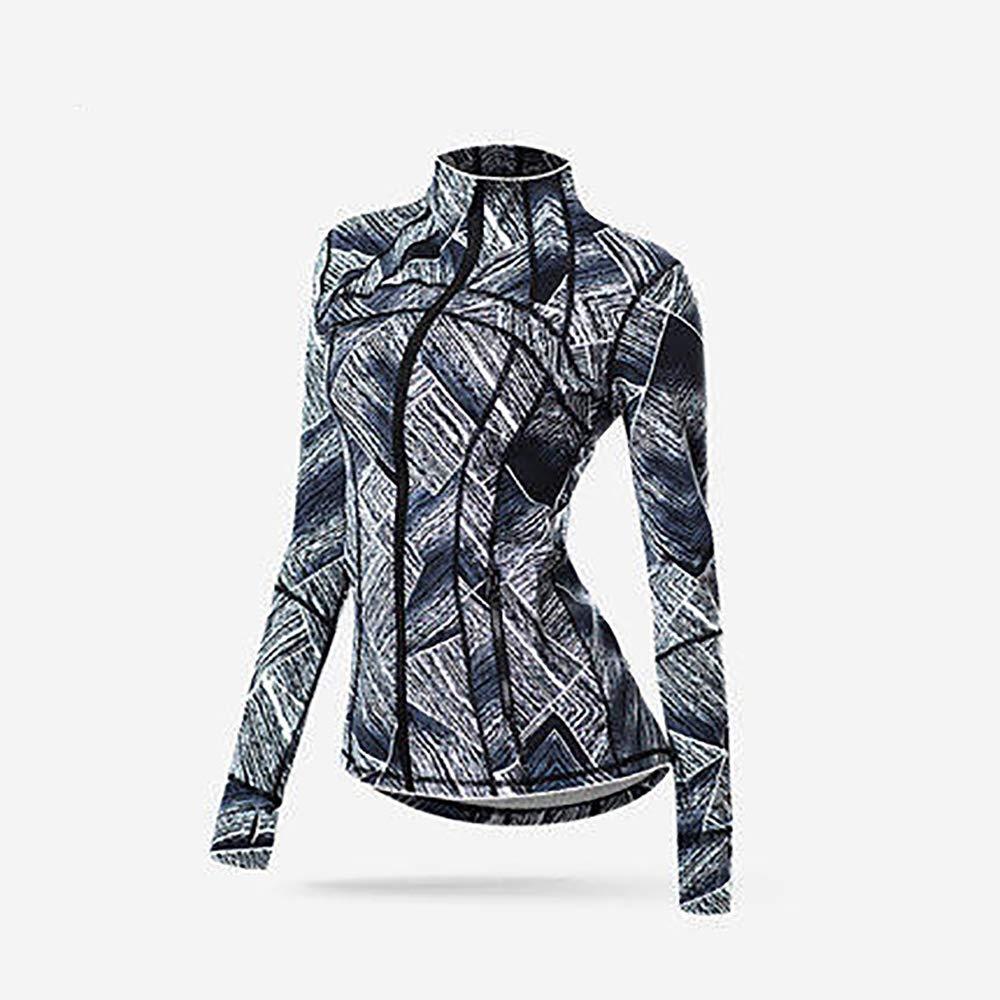 フィットネスジャケットヨガジャケットスポーツ速乾性ジャケットの男性と女性 グレー 青 Large