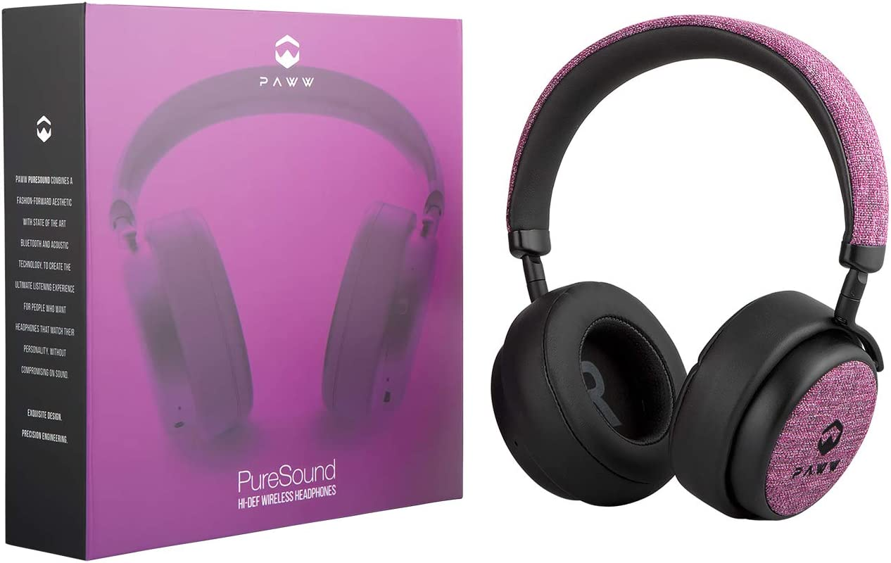 Paww PureSound Headphones – Over the Ear Bluetooth Fashion Headphones Hi Fi Sound Quality Longer Playtime – For Calls Movies More Cerise Pink