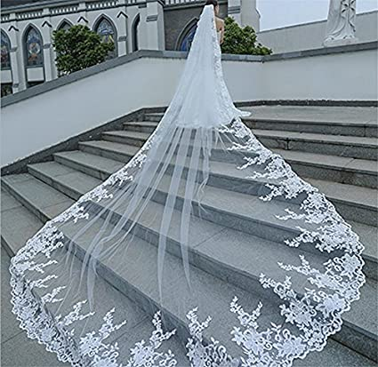 QQA 3M bride veil wedding Accessories cathedral Long tail Lace applique decoration edge white princess chiffon