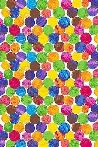 Fabric Caterpillar Hungry - Cotton Colorful Dots Rainbow Circles Chalk-Look The Very Hungry Caterpillar Eric Carle Kids Cotton Fabric Print by the Yard (3474M)