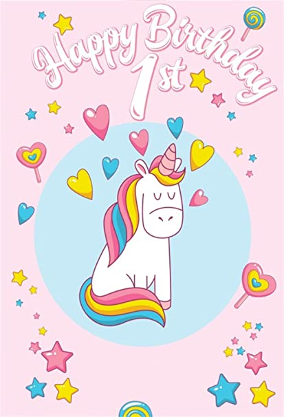 Amazon.: Laeacco Happy 1st Birthday Unicorn Backdrop 3x5ft
