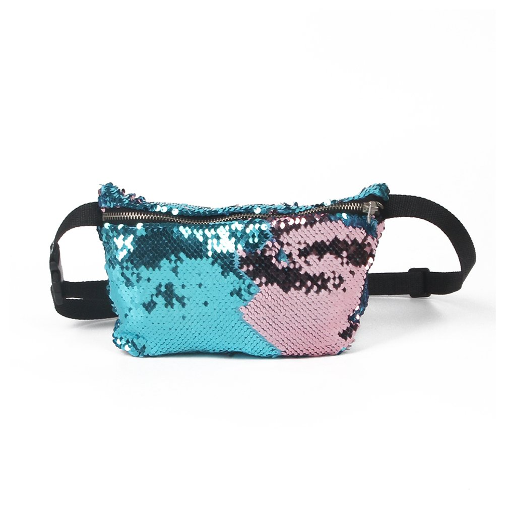 NUOLUX Double Color Sequins Waist Bag Casual Outdoor Sports Bag (Blue + Pink)