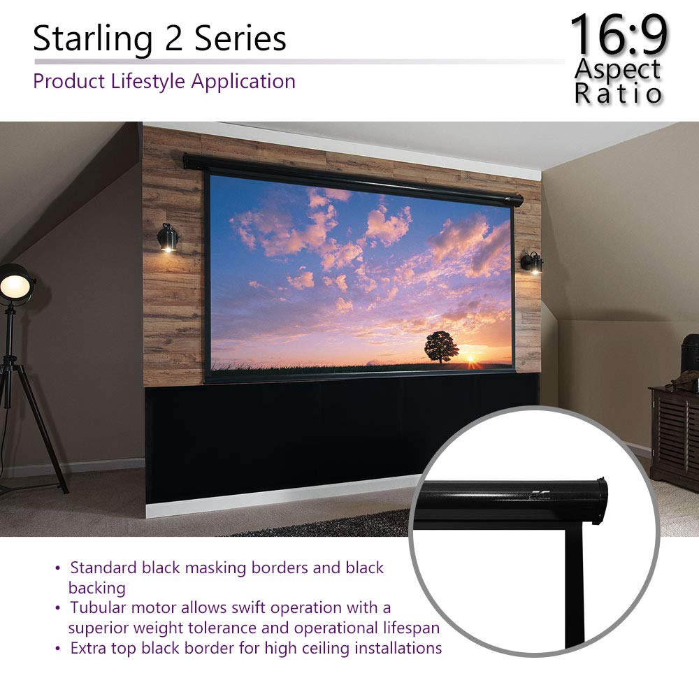 Home Theater 8K//4K Ultra HD Ready Projection ELECTRIC100H Elite Screens Spectrum Electric Motorized Projector Screen with Multi Aspect Ratio Function Max Size 100-inch Diag 16:9 to 95-inch Diag 2.35:1
