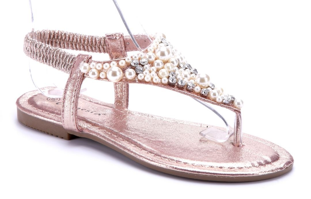 Schuhtempel24 Damen Schuhe Zehentrenner Sandalen Sandaletten Flach Ziersteine  36 EU|Bronze