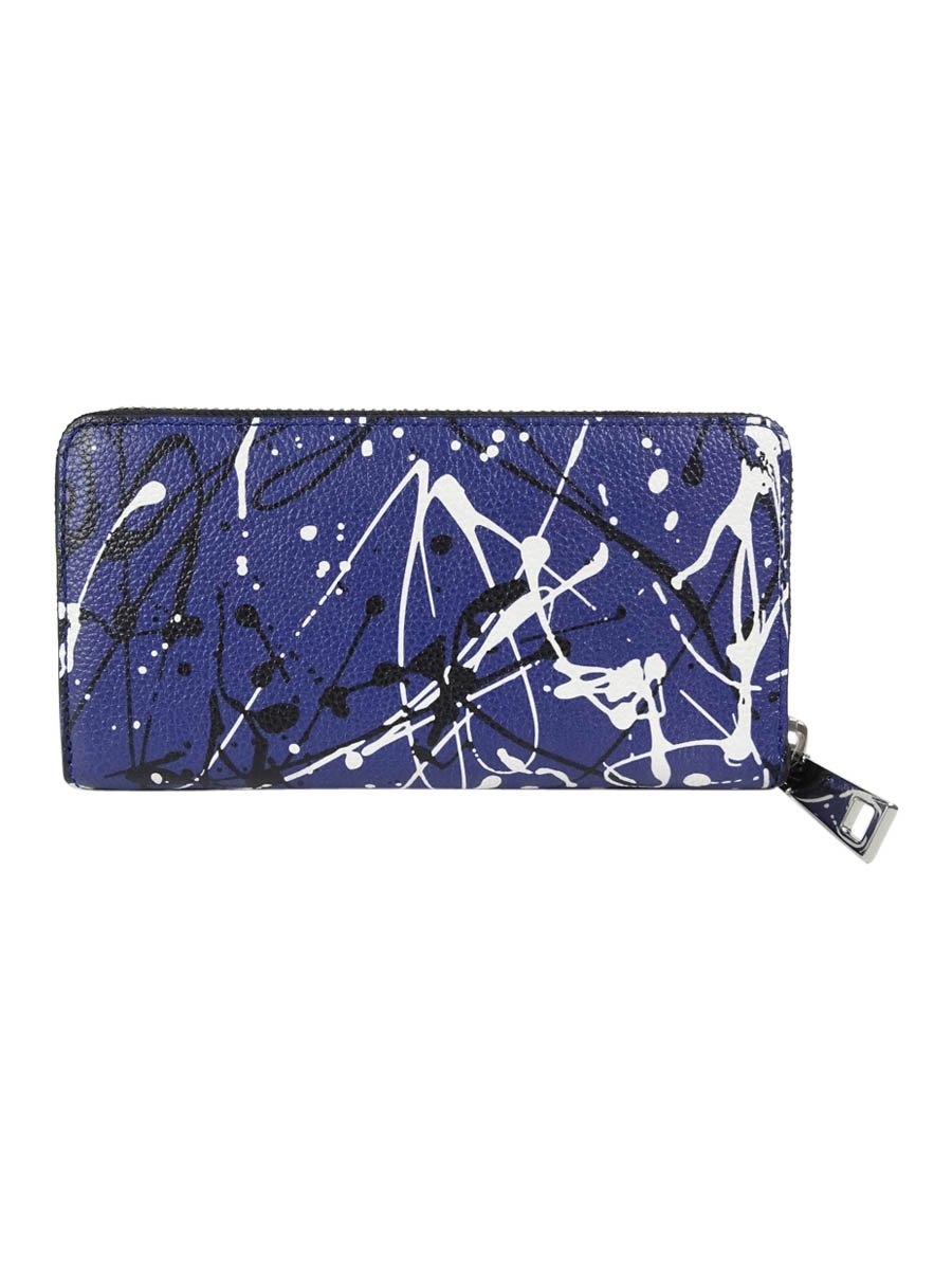Marc Jacobs Womens Splatter Paint Continental Leather Clutch Wallet Blue O/S