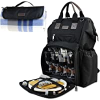 Fish Mouth Picnic Backpack for 4, Insulated Cooler Bag with Wide Open Large Capacity, Free Waterproof Beach Blanket, 9″ Plates, Wooden Handle Cutlery Set for Outdoor Camping Best Mother Day Gift
