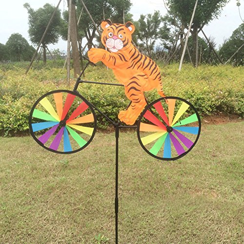 Stake Garden Metal 3d (OTGO 1Pc Cute 3D Animal on Bike Windmill Whirligig Wind Spinner for Your Yard Garden Party Decoration (Type: Tiger))