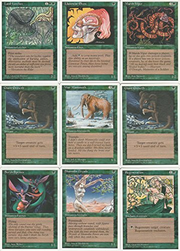 Magic the Gathering 4th Edition Green Common 10 Card Lot with Llanowar -
