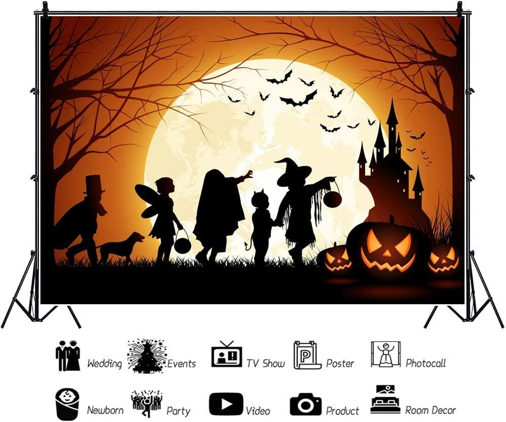 Halloween Backdrop 8x6.5ft Masked Ball Photography Backdrop Bright Full Moon Grimace Pumpkin Lantern Outdoor Haunted House Witch Ghost Werwolf Scary Night Dog Costume Party Photo Prop Decor