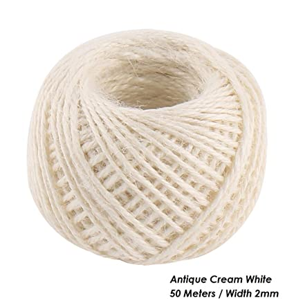 JO's Natural Sisal Twine (Antique Cream White - 50 Meter DIY Jute Twine 2mm  Rustic Decorations Twisted Jute Rope String Cord Christmas Supplies